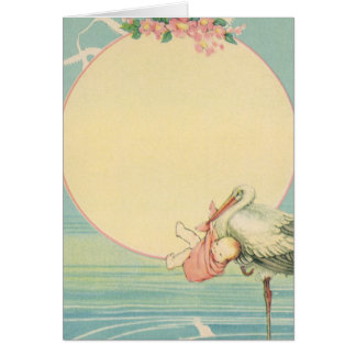 Vintage Stork with Baby Girl in Pink Blanket Greeting Card