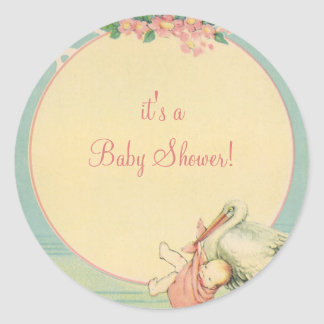 Vintage Stork with Baby Girl in Pink Blanket Round Sticker