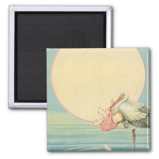 Vintage Stork with Baby Girl in Pink Blanket Square Magnet