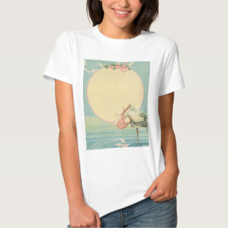 Vintage Stork with Baby Girl in Pink Blanket T Shirts