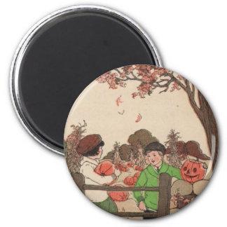 Vintage Storybook Kids & Pumpkins Magnet