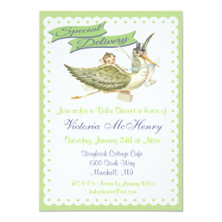Vintage Storybook Stork Baby Shower Invitations