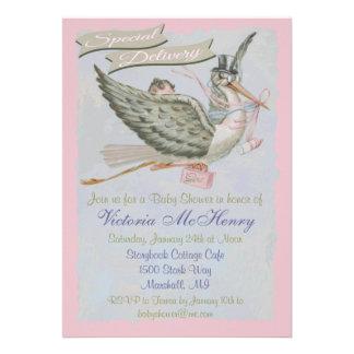 Vintage Storybook Stork Baby Shower Invitations