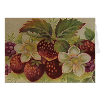Vintage Strawberries Card