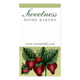vintage strawberries cooking baking business cards