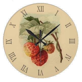 Vintage strawberries large clock