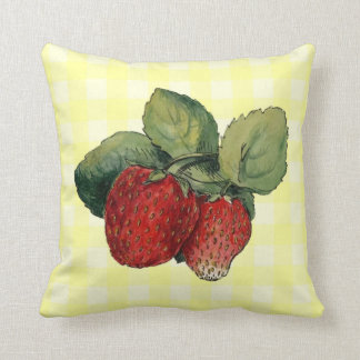Vintage Strawberries on Yellow Gingham Cushion