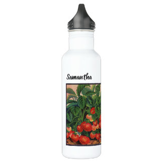 Vintage Strawberries, Strawberry Plants on a Farm 710 Ml Water Bottle