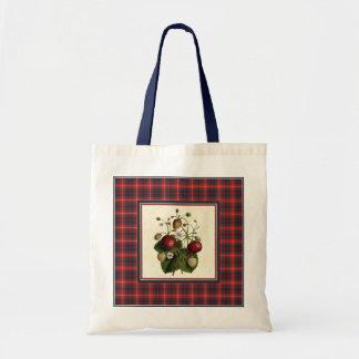 Vintage Strawberry with Fraser Tartan Tote Bag