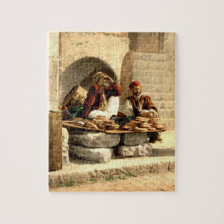 Vintage Street Bread Sellers Jerusalem Israel 1890 Jigsaw Puzzle