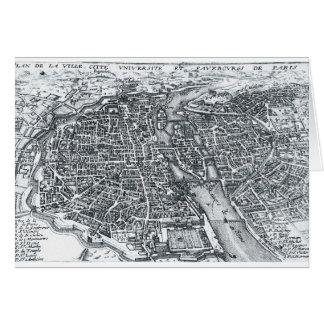 Vintage Street Map of Paris France Card