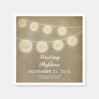 vintage string light lanterns paper napkins