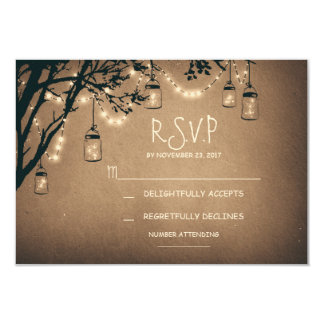 vintage string lights and mason jars RSVP Card
