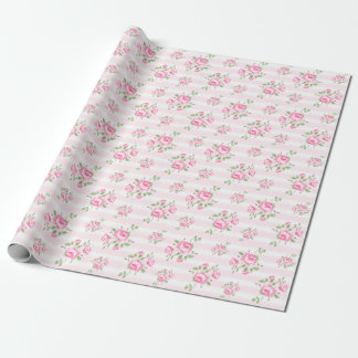Vintage stripe and  floral roses classic pale pink wrapping paper