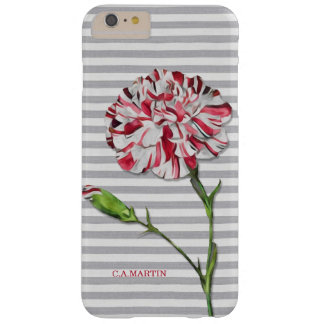Vintage Striped Carnation Flower with Beach Stripe Barely There iPhone 6 Plus Case