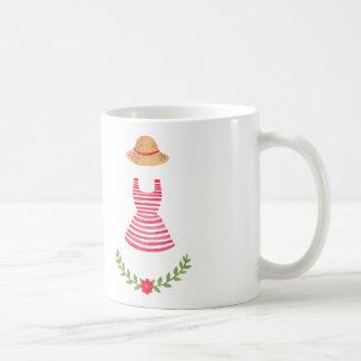 Vintage Striped Dress Basic White Mug