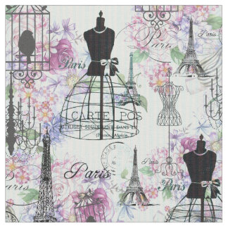 Vintage stripes Eiffel Tower collage pink floral Fabric