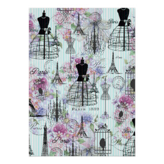 Vintage stripes Eiffel Tower collage pink floral Poster