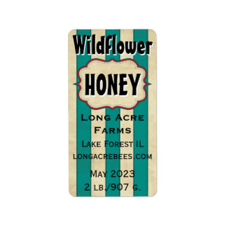 Vintage Stripes Wildflower Customised Honey Jar Address Label