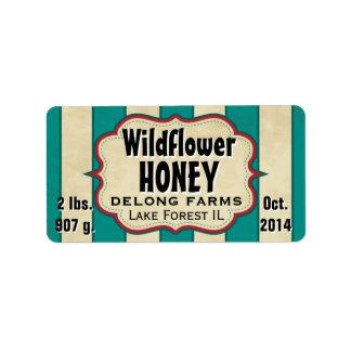 Vintage Stripes Wildflower Honey Jar - Horizontal Address Label