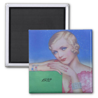 Vintage Style 1932 Square Magnet