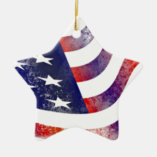 Vintage Style American Flag Ceramic Ornament
