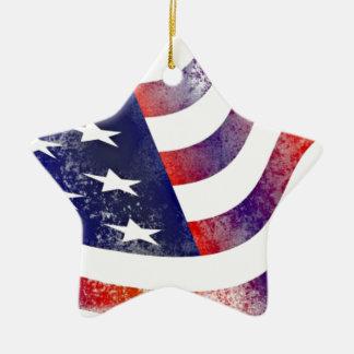 Vintage Style American Flag Ceramic Star Decoration