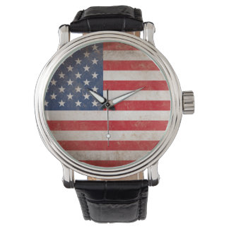Vintage Style American Flag Patriotic Watch
