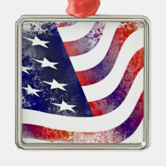 Vintage Style American Flag Silver-Colored Square Decoration
