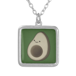 Vintage Style Avocado Drawing Silver Plated Necklace