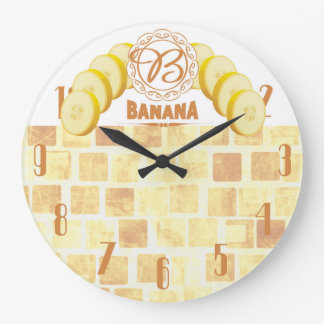 Vintage style bananas fruit kitchen clock
