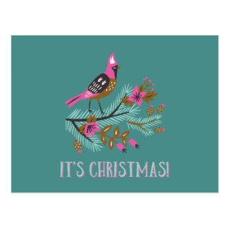 Vintage Style Bird Christmas Postcard