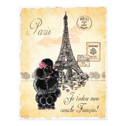 Vintage Style Black Poodle Eiffel Tower Print 21.5 Cm X 28 Cm Flyer
