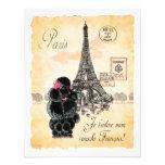 Vintage Style Black Poodle Eiffel Tower Print Custom Invites