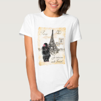 Vintage Style Black Poodle Eiffel Tower Print Tee Shirt