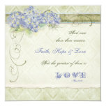 Vintage Style Blue Hydrangea Floral Swirl Damask 13 Cm X 13 Cm Square Invitation Card