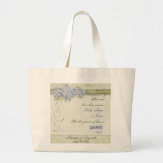Vintage Style Blue Hydrangea Floral Swirl Damask Large Tote Bag