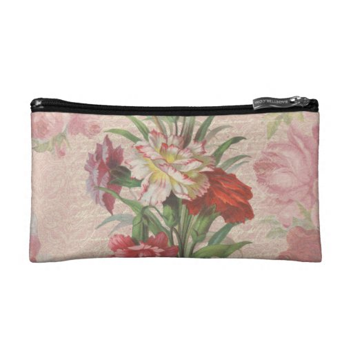 Vintage style bouquet on aged floral and script ba cosmetics bags