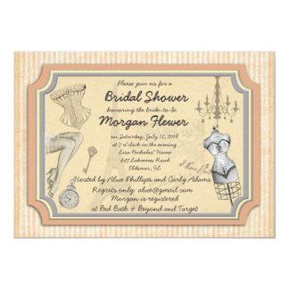"Vintage style Bridal / Lingerie Shower Invitation 5"" X 7"" Invitation Card"