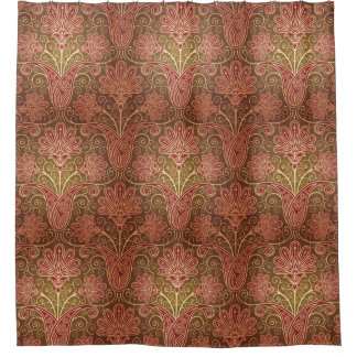 Vintage Style Brown and Maroon Floral Pattern Shower Curtain