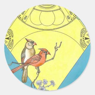 Vintage style Cardinal Love Birds Sticker sheet