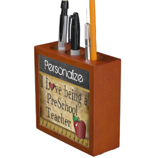 Vintage Style Chalkboard for a PreSchool Teacher Desk Organiser