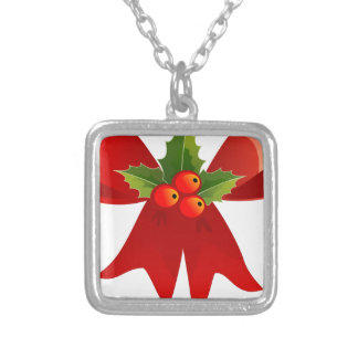 Vintage Style Christmas Bow Silver Plated Necklace