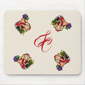 Vintage Style Christmas Cute Elephant Monogram Mouse Pad