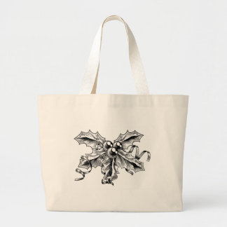 Vintage Style Christmas Holly Berries Sprig Canvas Bag
