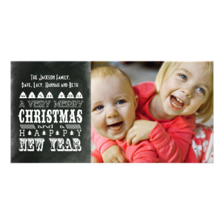 Vintage Style Christmas & New Years Photo Card