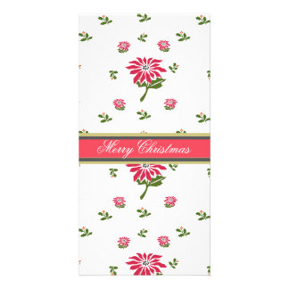 Vintage Style Christmas Poinsettia and Holly Personalised Photo Card