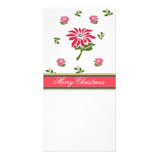 Vintage Style Christmas Poinsettia and Holly Photo Greeting Card