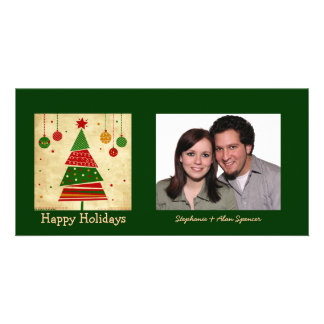 Vintage Style Christmas Tree Holiday Photo Card