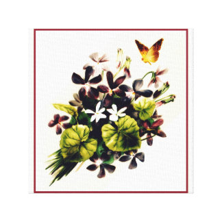Vintage Style Country Floral Scene Canvas Art
